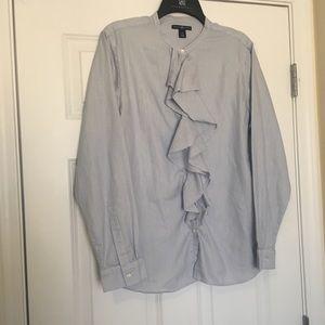 Size XL Gap Blue Stripe Ruffle Front Button Shirt